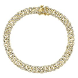 24668 - gabriel -14kt yellow gold diamond 3.66ctw curb link tennis bracelet - TB4034Y45JJ