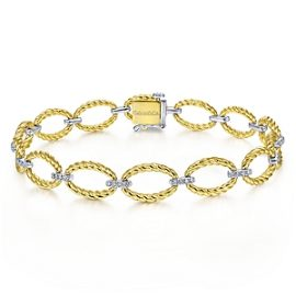 24669 - gabriel - 14kt two tone diamond .27ctw twisted oval link bracelet - TB4273M45JJ