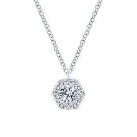 24684-gabriel-14kt white gold diamond .40ctw hexagon shape necklace-NK5623W45JJ