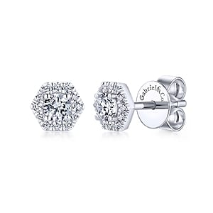 24657 - diamond .50ctw hexagon shape earrings Gabriel-14k-White-Gold-Hexagonal-Diamond-Halo-Stud-Earrings_EG13235W45JJ-1