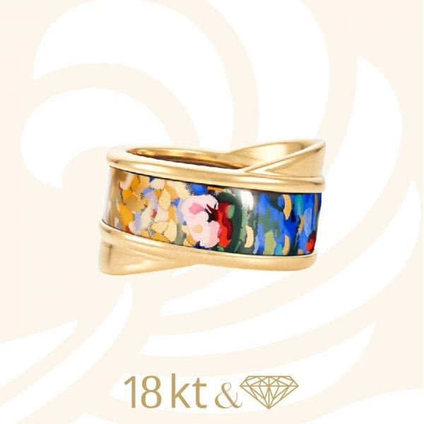 24768 - Freywille 18kt Yellow Gold & Enamel Ring - Orangerie Claud Monet Tango Ring