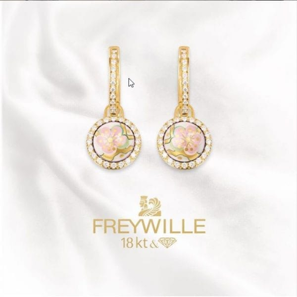 24775-Freywille 18kt Yellow Gold Diamond Enamel L'Amandier Arour Infini Van Gogh Earrings