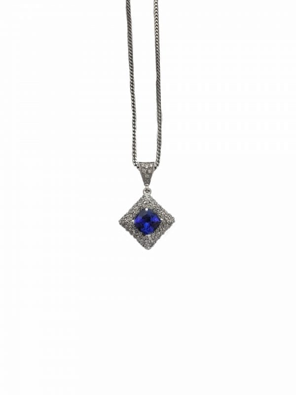 23213 JJI-14kt white gold tanzanite 1.42ct & rbc dia1.39ctw pendant