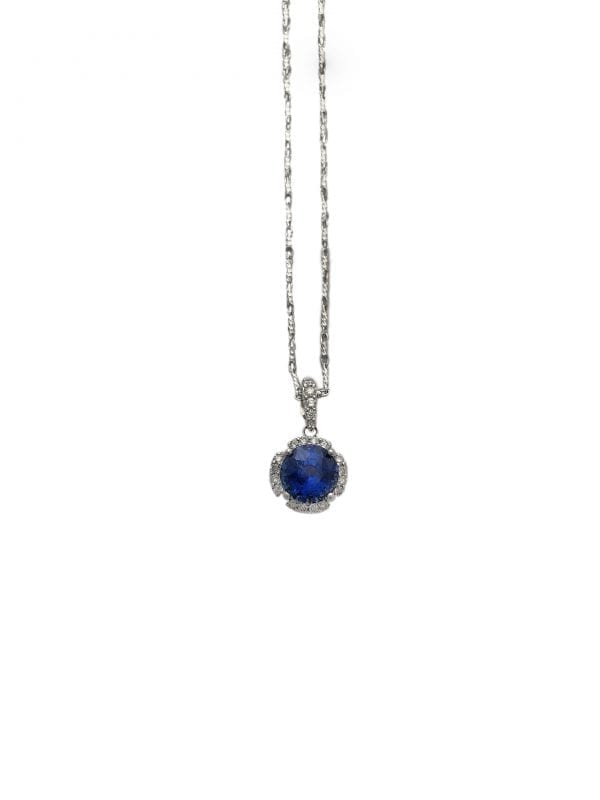 24440 - INCON -18kt white gold sapphire 2.25ct & rbc d.25ctw halo pendant with diamond bail-DP87534