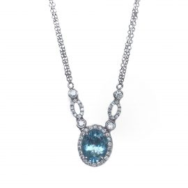 24453 -IZI- 14kt white gold doublt 18 aquamarine 1.74ct & rbc d.46ctw necklace-35997EAQ