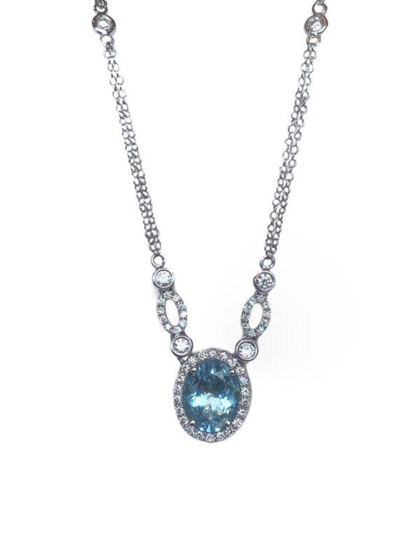 24453 -IZI- 14kt white gold doublt 18 aquamarine 1.74ct & rbc d.46ctw necklace-35997EAQ