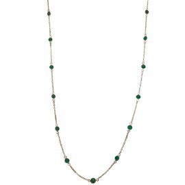 24472 TRESOR -18kt yellow gold emerald 1.85ctw station necklace-F9121EM-Y