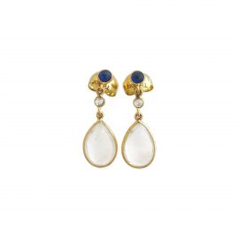 24474 TRESOR -18kt yellow gold sapphire-diamond-moonstone drop earrings-FL9314RS