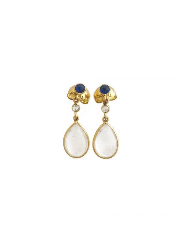 24474 TRESOR -18kt yellow gold sapphire-diamond-moonstone drop earrings-FL9314RS