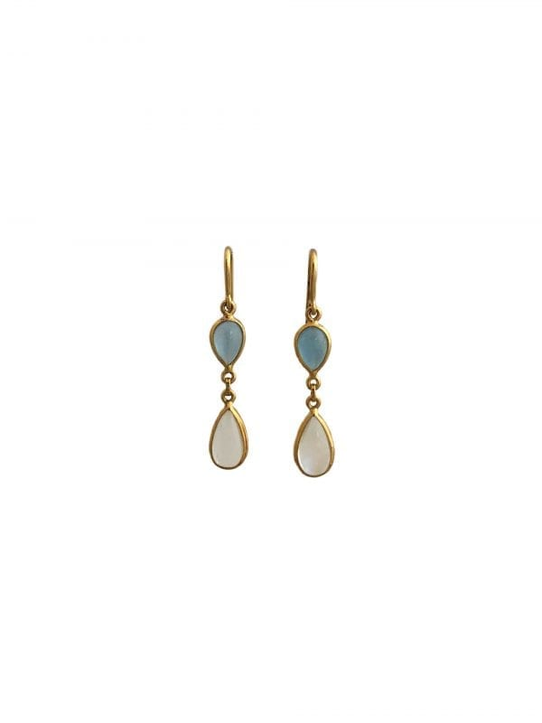 24477 TRESOR -18kt yellow gold pear shape aquamarine & moonstone dangle earrings-F9305AR