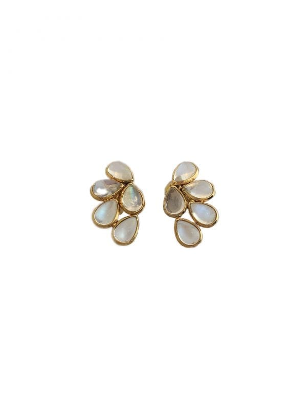 24478 TRESOR -18kt yellow gold rainbow moonstone 9.47ctw cluster earrings-FL8332RM