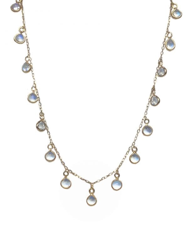 24479 - TRESOR-18kt yellow gold ranbow moonstone 3.08ctw dangle necklace-F8190RM