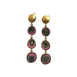 24485 TRESOR - 18kt yellow gold watermelon tourmaline 19.08ctw slice drop earrings-F6314BC