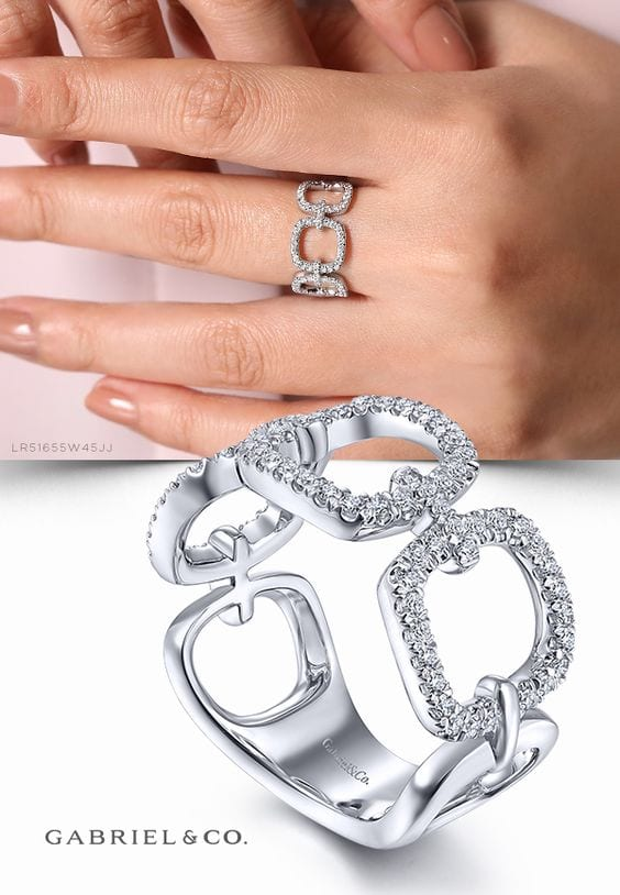 24665 d.45ctw open link ring Gabriel LR51655w45jj - 14kt White Gold Round Brilliant Cut Diamond Link Ring
