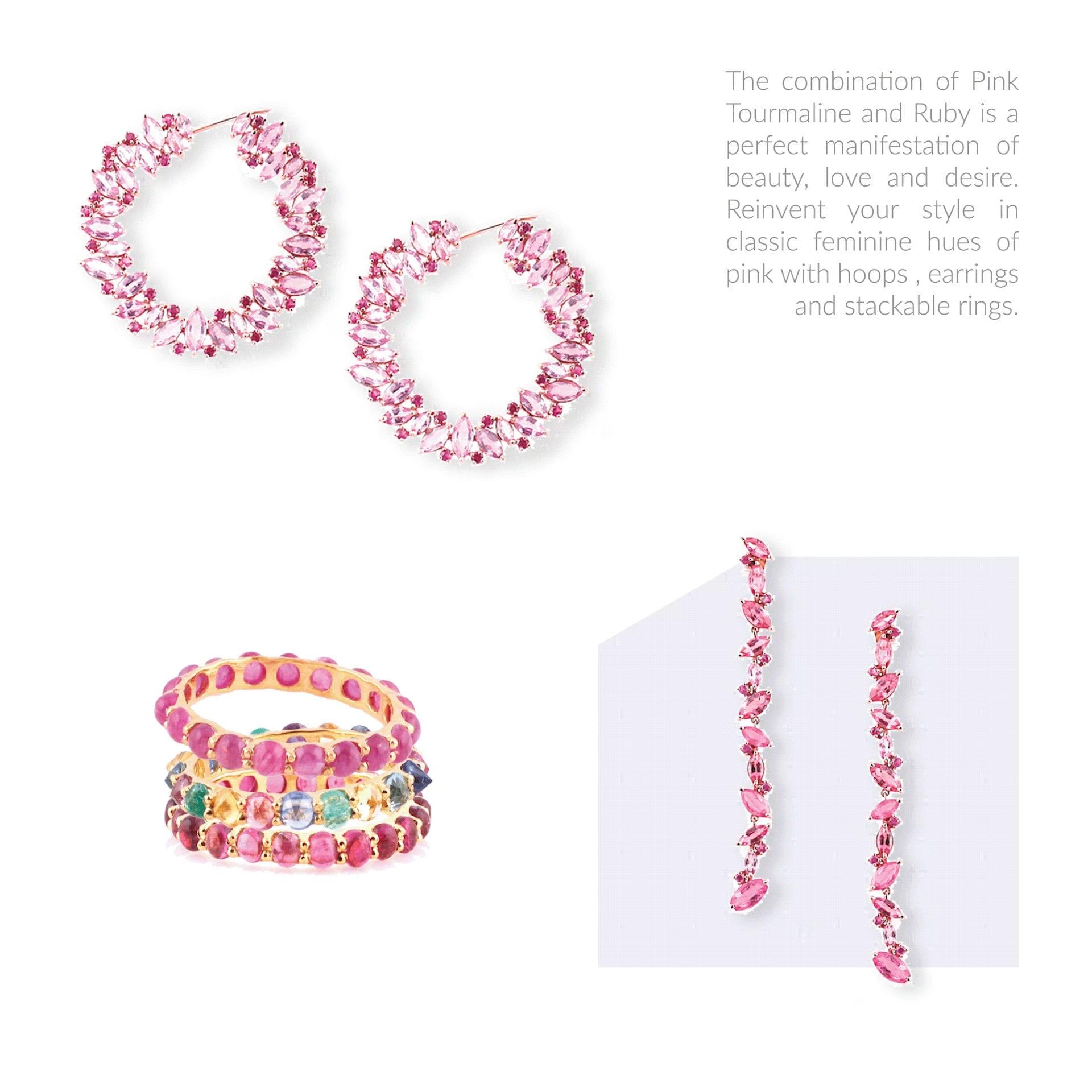 9-3-2019 tresor pink turmaline & ruby earrings & stackables