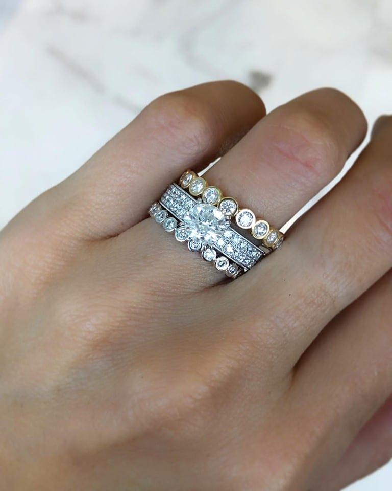 yellow gold & white gold bezel set diamond bands - round brilliant cut diamond engagement ring 9-3-2019