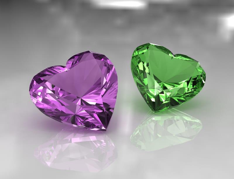 green & purple heart shape amethyst february birthstone