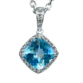 cushion shape blue topaz & diamond pendant
