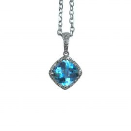 20344 14kt white gold blue topaz 2.43 ct & dia .12 ctw pendant