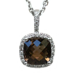cushion smokey topaz 1.95ct & diamond halo .15ctw pendant