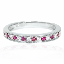 23221 14kt white gold ruby .13 ctw & dia .13 ctw band