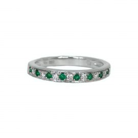 23222 14kt white gold emerald .12 ctw & dia .13 ctw band