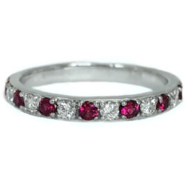 round ruby alternating with diamond band