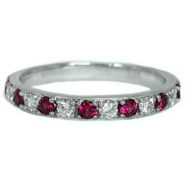 round ruby alternating with diamond band
