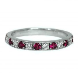 24381 14kt white gold ruby .24 ctw & dia .20 ctw band