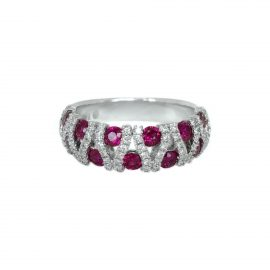 24576 14kt white gold ruby 1.43 ctw & dia .42 ctw vertical weave band