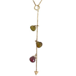 briolette cut tourmaline 5.28 carats lariat y necklace