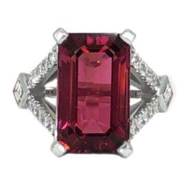 emerald cut rubellite 9.44 carat and diamond ring