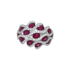 8524 18kt white gold ruby 2.49ctw & dia .84ctw ring