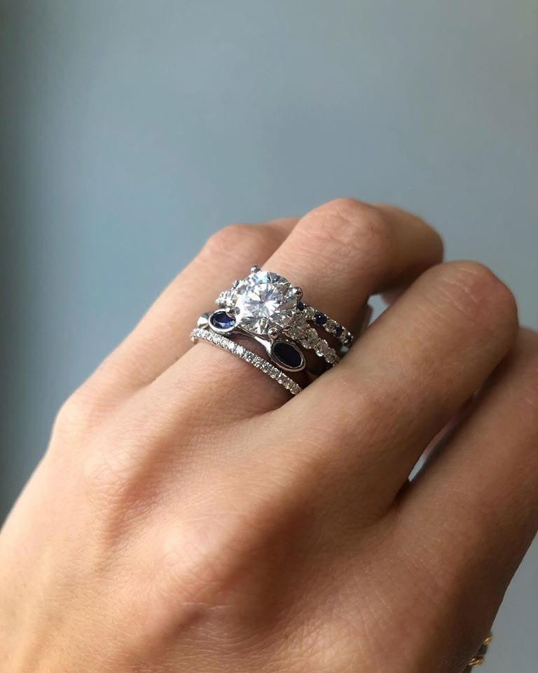 bridal round brilliant cut diamond engagement ring & sapphire & diamond bands