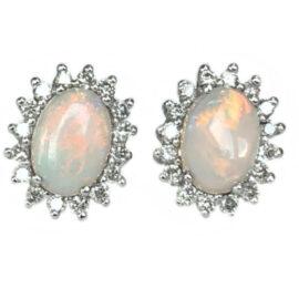 oval opal .89 carats earrings with diamond halo