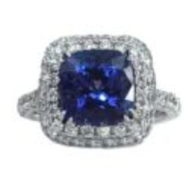 14213 14kt white gold tanzanite 3.55ct & dia .98ctw ring