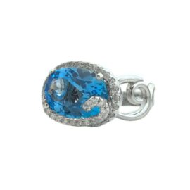 oval blue topaz 6.90 carat and diamonds ring
