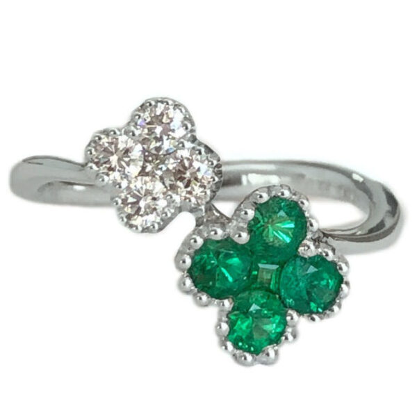clover style emerald .44 carats and diamonds bypass ring