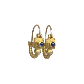 18755 18kt yellow gold cabachon sapphire & dia .01ctw earrings alt