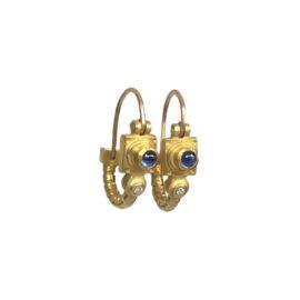 18755 18kt yellow gold cabachon sapphire & dia .01ctw earrings alt