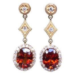 spessertite garnet 4.77 carats dangle earrings with diamonds