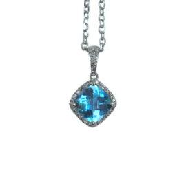 20344 14kt white gold blue topaz 2.43 ct & dia .12 ctw pendant