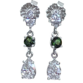 pear and marquise cut diamond dangle earrings with green tourmaline