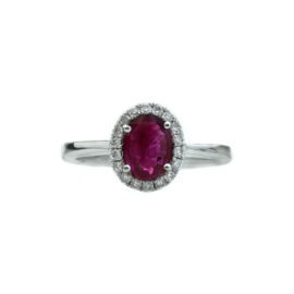21228 rr14064w 14kt white gold oval ruby .72ct & dia .14ctw ring