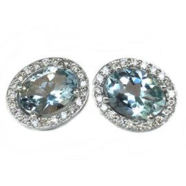 oval aquamarine 2.13 carats earrings with diamond halo
