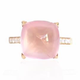 22092 front 18kt rose gold rose quartz 6.78ct & diamond .20ctw ring (1)