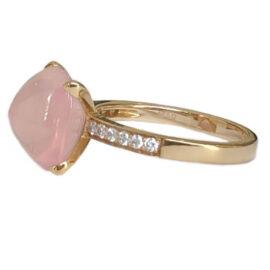 rose quartz 6.78 carat ring with diamonds