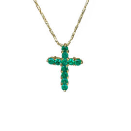 22541 rpd636-12 18kt yellow gold emerald 1.35ctw cross pendant