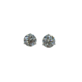 22875 14kt white gold round brilliant cut diamond .98ctw studs G-H SI in 3 prong setting