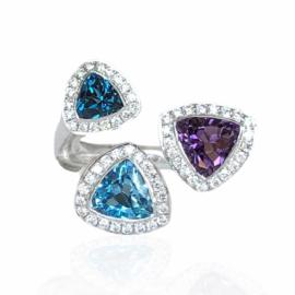 22999 18kt white gold amethyst blue topaz & diamond .28ctw ring (1)